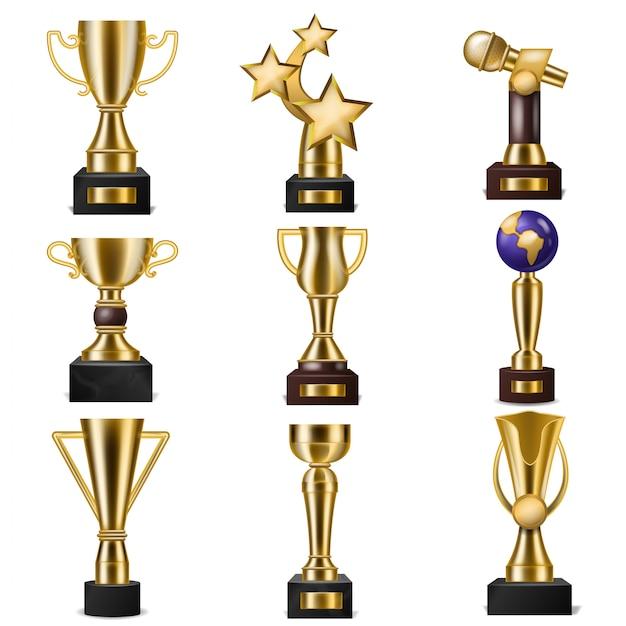 Prémio troféu vencedores de vetor prêmio troféu dourado para campeão premiado com recompensa para a vitória na competição ilustração conjunto de copo de ouro para o primeiro lugar isolado Vetor Premium