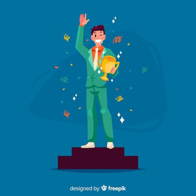 Prêmio vencedor de personagem feliz com design plano Vetor grátis
