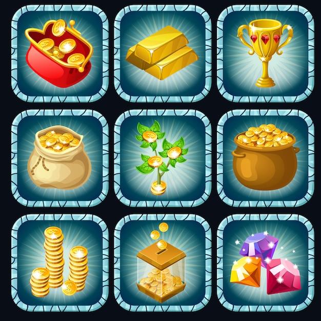 Prêmios de ícones para jogos de computador Vetor Premium