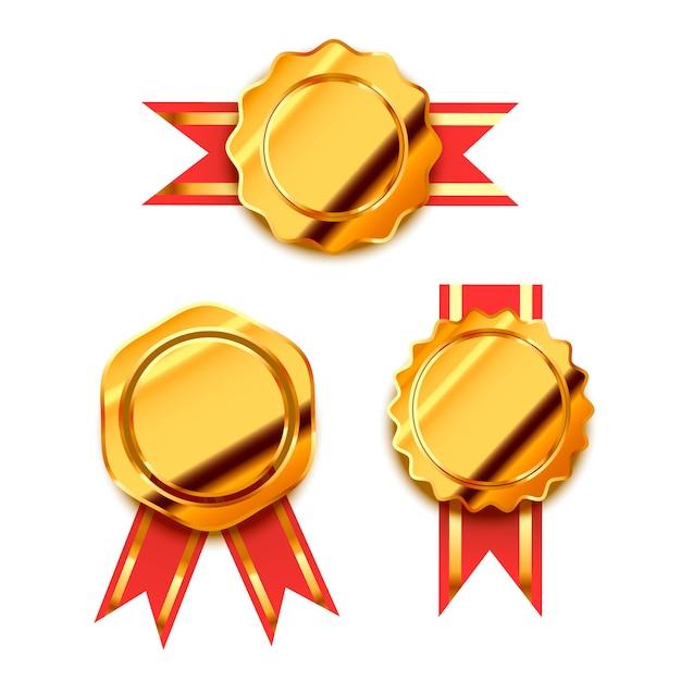 Prêmios de ouro brilhante Vetor Premium