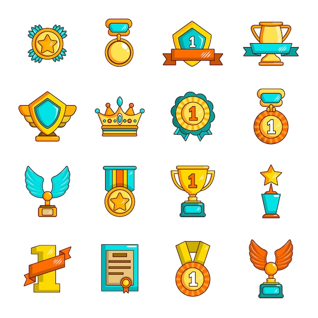 Prêmios medalhas copos conjunto de ícones Vetor Premium