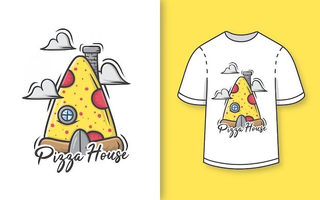 Premium mão desenhada ilustração de casa bonita pizza para camiseta Vetor Premium
