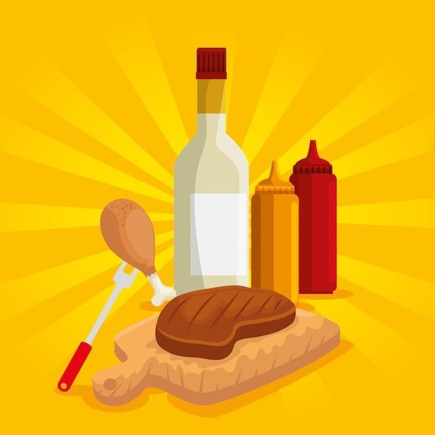Preparação de carne e coxa com molhos para churrasco Vetor grátis