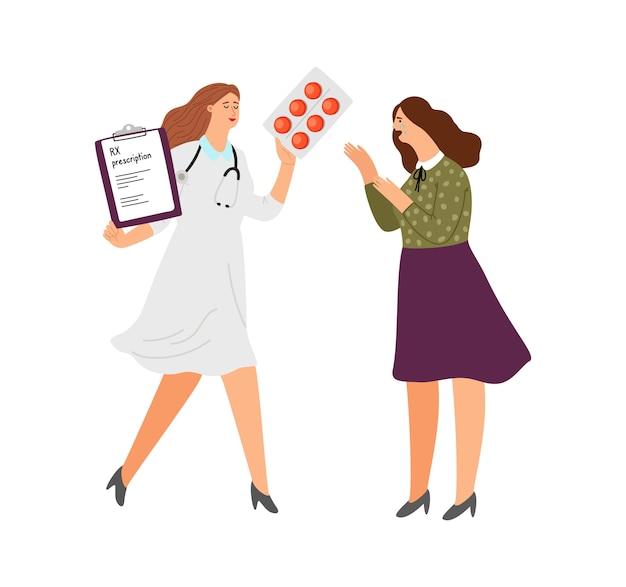 Prescrição de antidepressivos rx. doutor dos desenhos animados com comprimidos e mulher chorando. ilustração vetorial de tratamento de depressão Vetor Premium