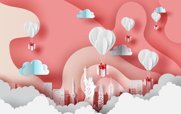 Presente de balões da cidade de nova york. eua. Vetor Premium