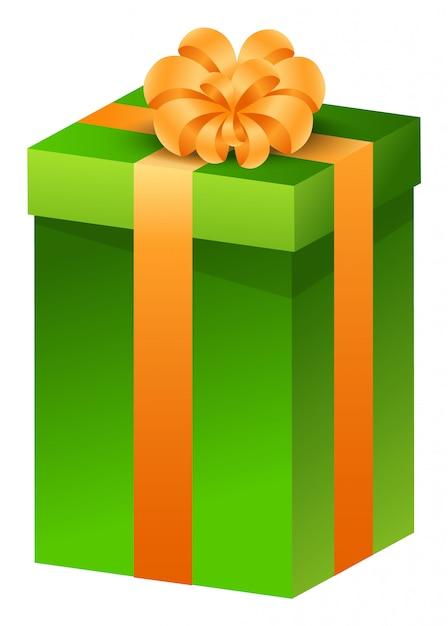 Presente de natal, presente na caixa amarrada com fita Vetor Premium