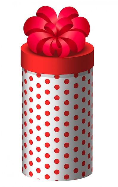 Presente em caixa arredondada, presente para férias Vetor Premium
