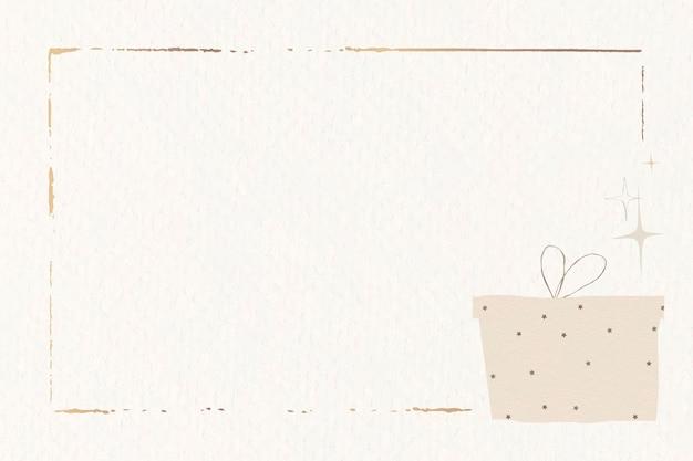 Presente festivo com moldura dourada e fundo bege simples Vetor grátis