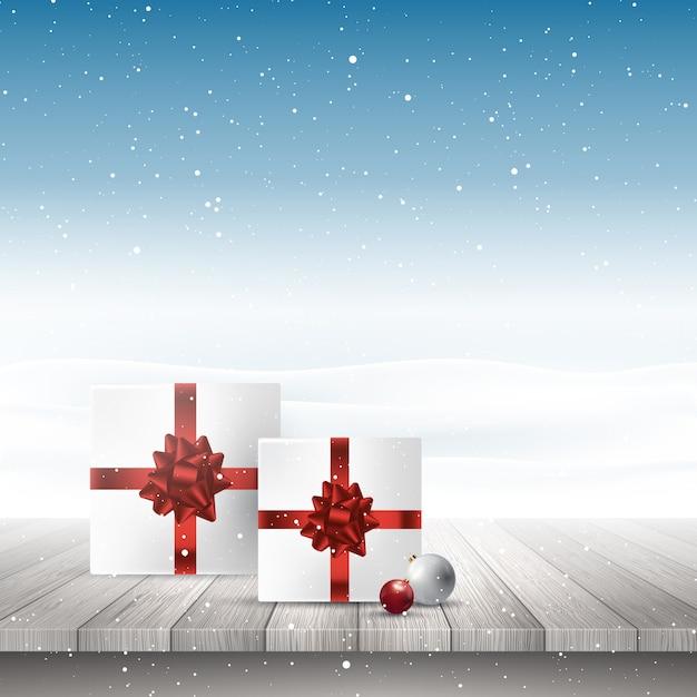 Presentes de natal em uma mesa de madeira com vista para uma paisagem de neve Vetor grátis
