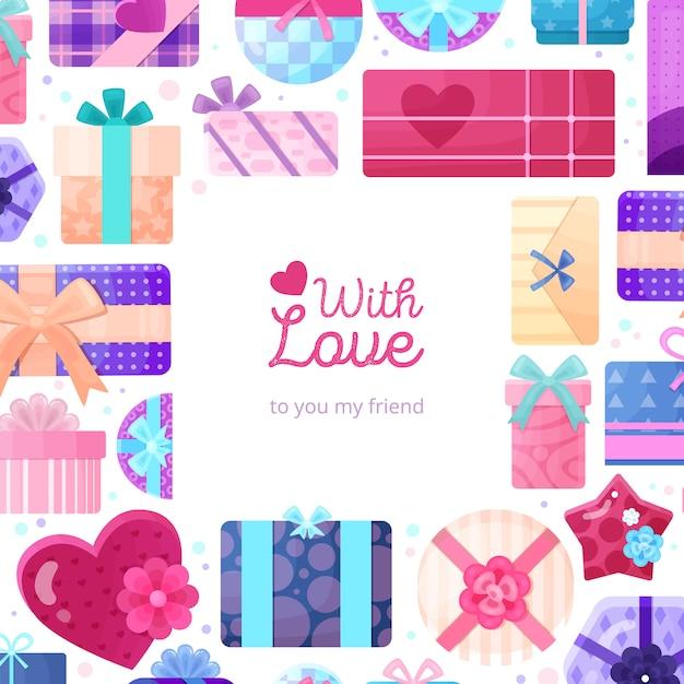 Presentes românticos apresenta embalagem moldura plana com quadrado redondo retangular e caixas em forma de coração de amor Vetor grátis