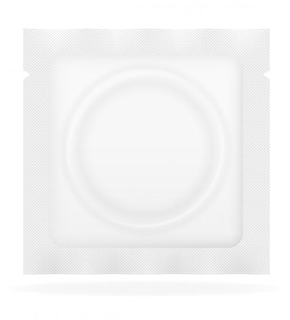 Preservativo em ilustração vetorial de pacote branco Vetor Premium