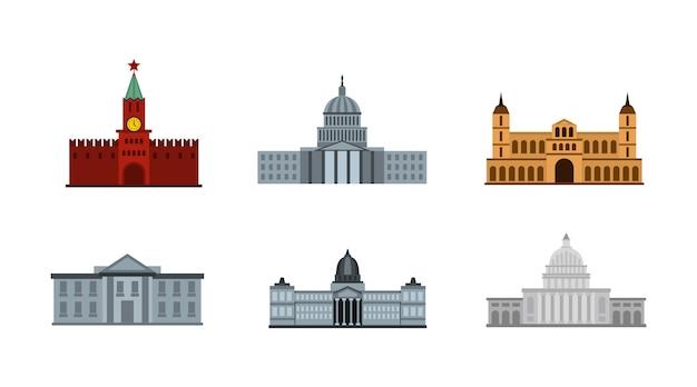 Presidente edifício conjunto de ícones. conjunto plano de coleção de ícones vetoriais edifício presidente isolado Vetor Premium