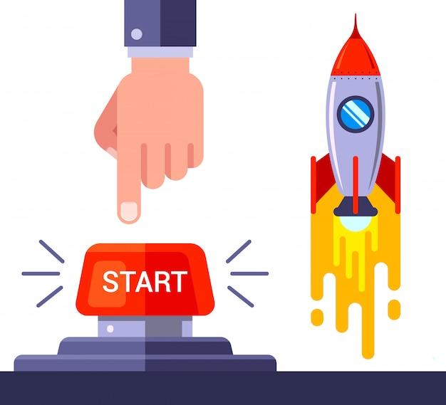 Pressione o botão vermelho e lance o foguete espacial. lustração. Vetor Premium