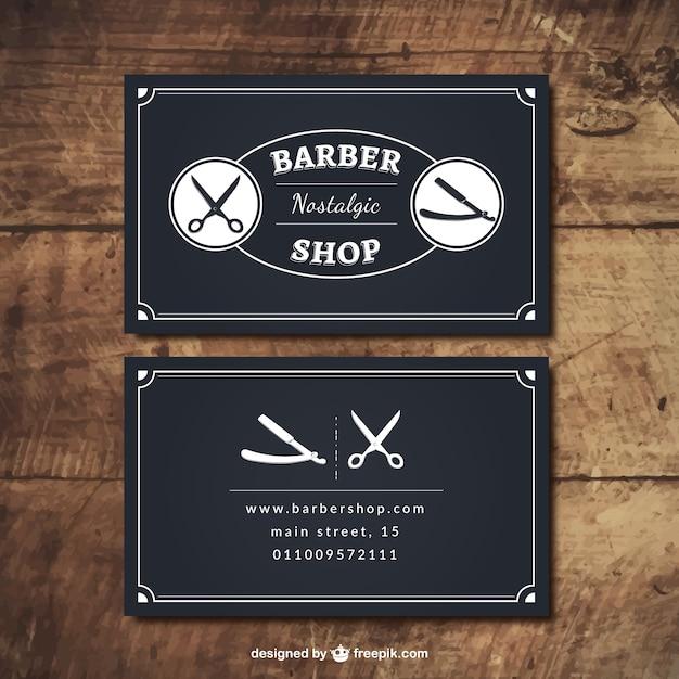 Preto barbeiro cartões de loja Vetor Premium