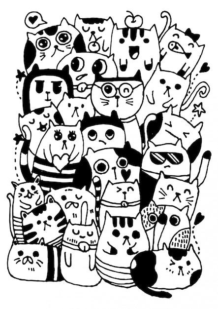 Preto e branco mão desenhar vetor, estilo de personagens de gatos doodles ilustração coloração para crianças. Vetor Premium