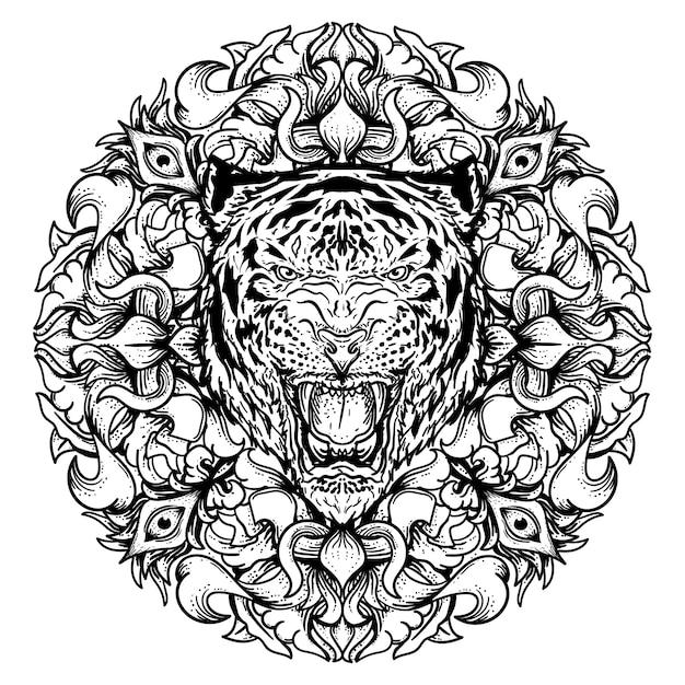 Preto e branco mão ilustrações desenhadas tigre com círculo gravura ornamento premium Vetor Premium