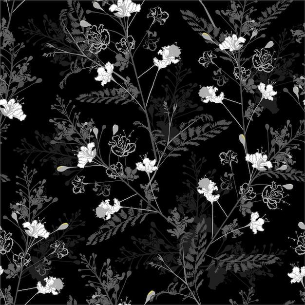 Preto e branco monocromático padrão sem emenda repetir em vetor de design floral de pavão desabrochando para moda, tecido, web, papel de parede, papel de embrulho e todas as impressões Vetor Premium