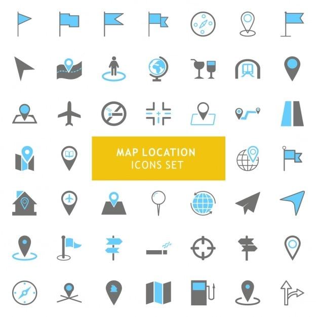 Preto e cinza geo mapa de localização icons set Vetor grátis
