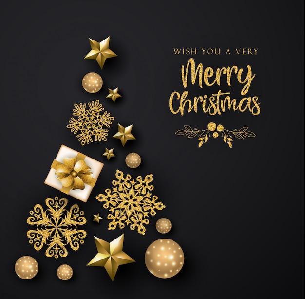 Preto e dourado cartão de feliz natal Vetor Premium