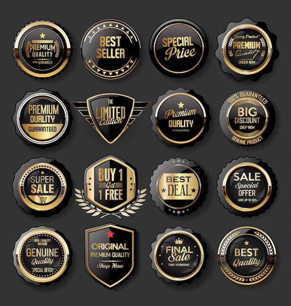 Preto e ouro emblemas ilustração super venda coleção Vetor Premium