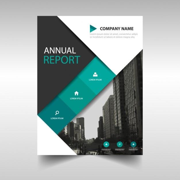 Preto modelo de anúncio verde da capa do livro relatório anual Vetor grátis