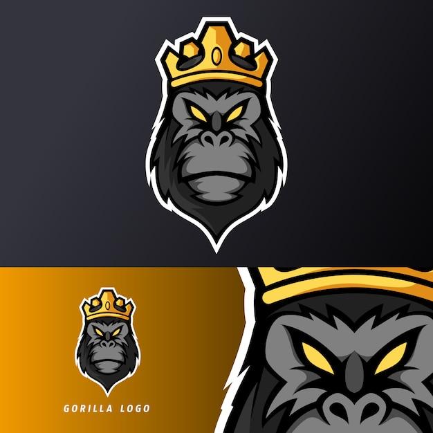 Preto rei gorila macaco macaco mascote desporto esport logotipo modelo para equipe de serpentina Vetor Premium