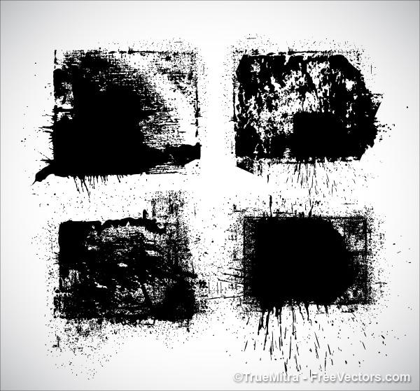 Preto respingo de tinta stein set Vetor grátis