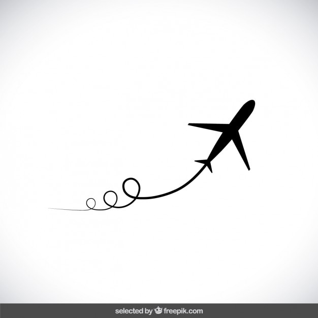 Preto vôo do avião Vetor grátis