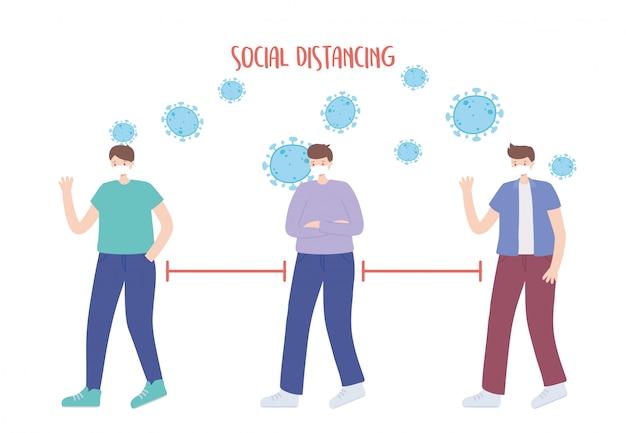 Prevenção de distanciamento social do coronavírus, os jovens mantêm distância, o surto se espalha, as pessoas com máscara facial médica Vetor Premium