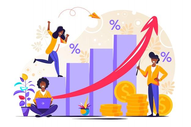 Previsão de crescimento monetário e relatório de progresso Vetor Premium