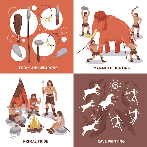 Primal tribe people concept icons set Vetor grátis
