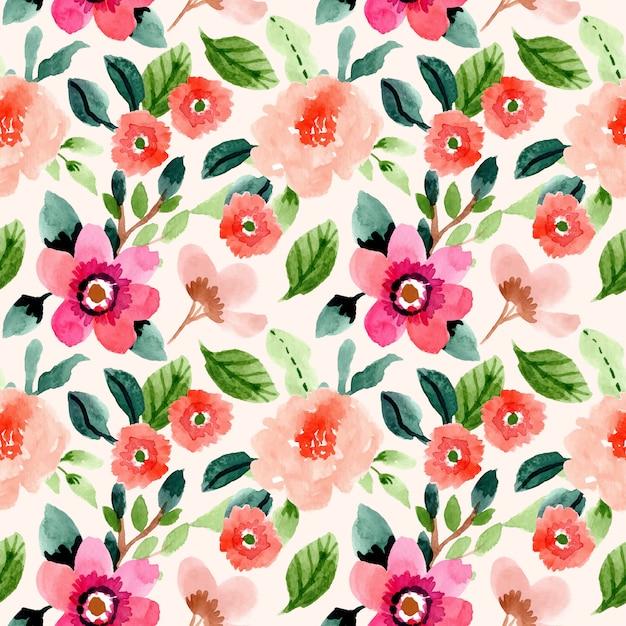 Primavera floral aquarela sem costura padrão Vetor Premium