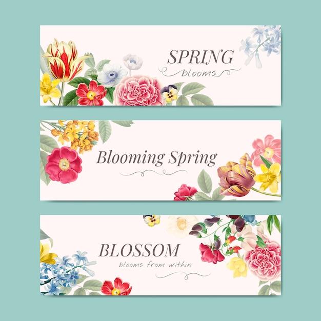 Primavera floral floresce vector bandeira Vetor grátis