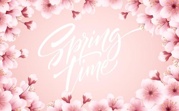 Primavera fundo bonito com primavera florescendo flores de cerejeira. filial de sakura com pétalas voando. ilustração vetorial eps10 Vetor grátis