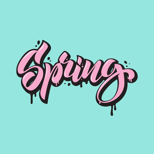 Primavera. letras em estilo grafite. caligrafia desenhada de mão Vetor Premium