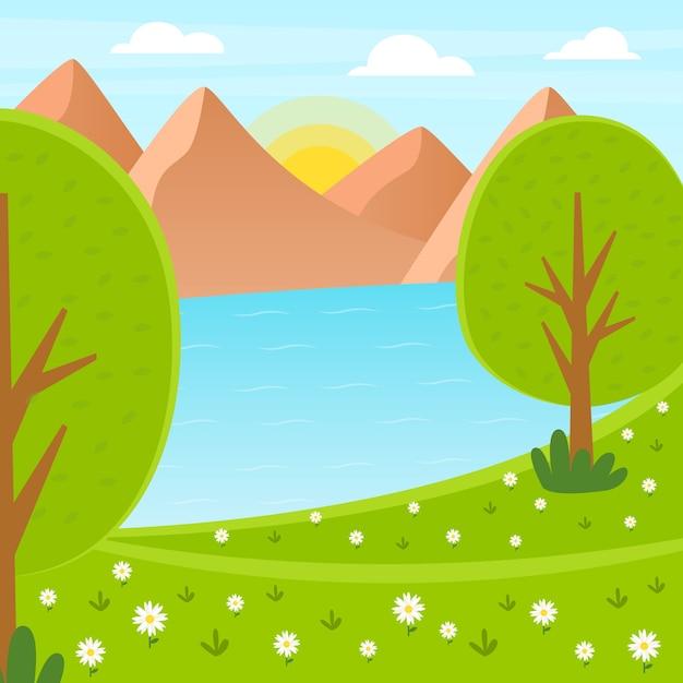 Primavera linda paisagem com montanhas e lago Vetor grátis
