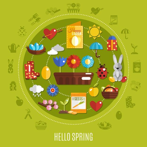 Primavera páscoa conceito plana Vetor grátis