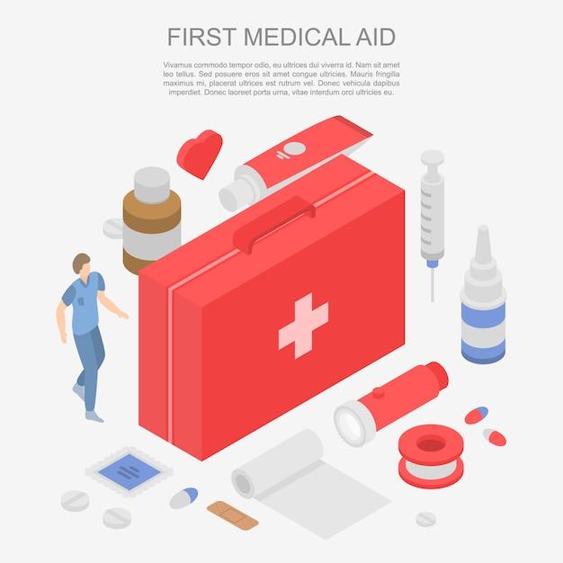 Primeira bandeira de conceito de assistência médica, estilo isométrico Vetor Premium