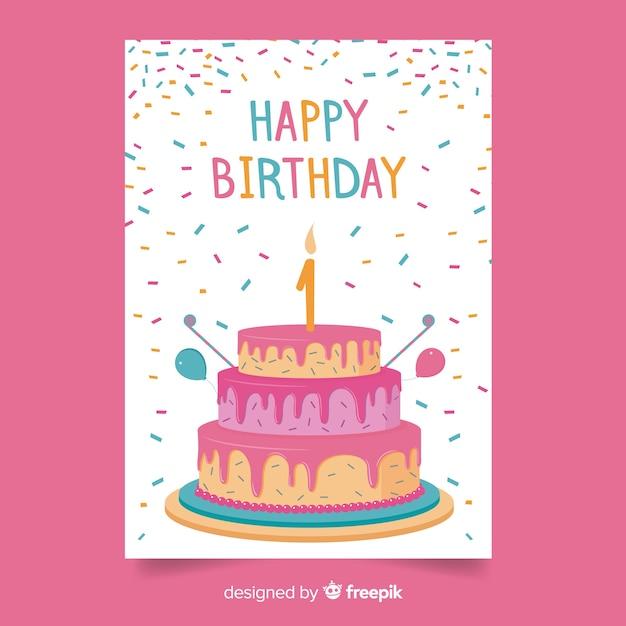 Primeira saudação de bolo de confetes de aniversário Vetor grátis