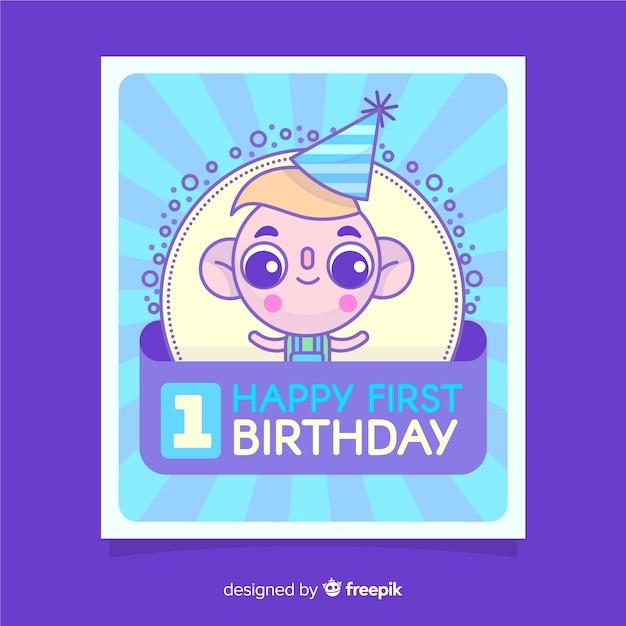 Primeiro cartão de aniversário Vetor grátis