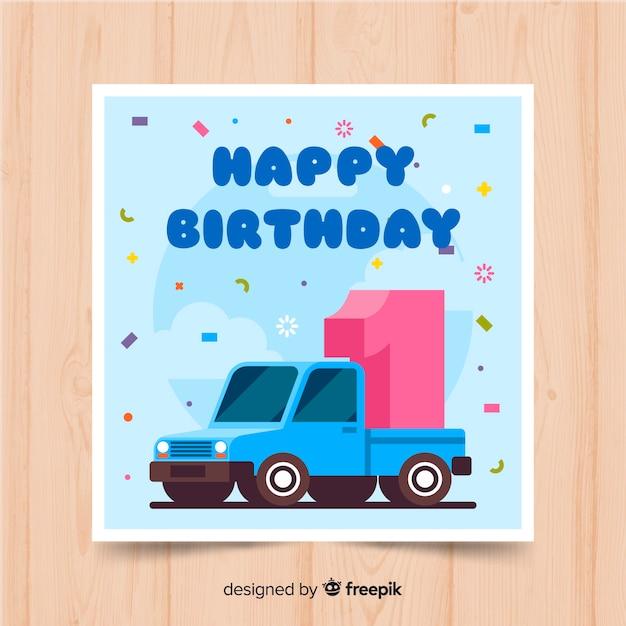 Primeiro cartão de convite de festa de aniversário Vetor grátis