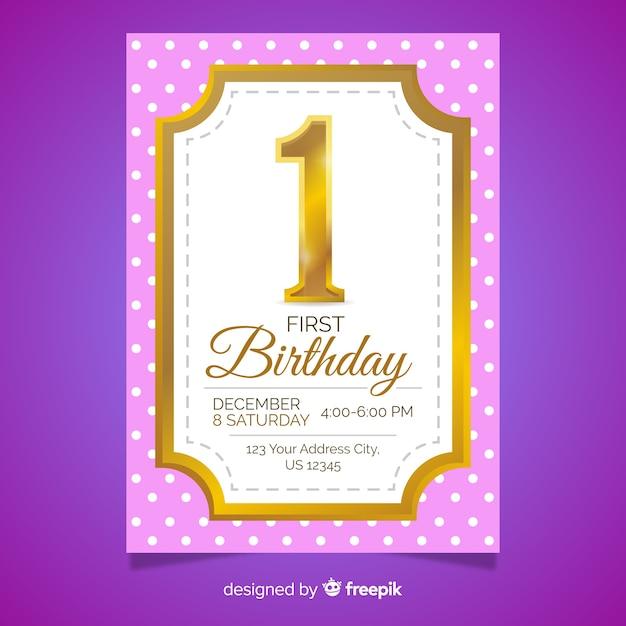 Primeiro cartão de número de ouro de aniversário Vetor grátis