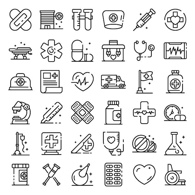 Primeiro conjunto de ícones de assistência médica, estilo de estrutura de tópicos Vetor Premium