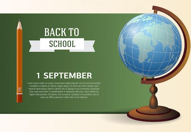 Primeiro de setembro, volta para o design de cartaz de escola com lousa Vetor grátis
