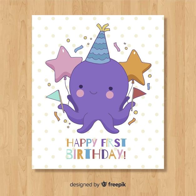 Primeiro design de cartão de aniversário Vetor grátis