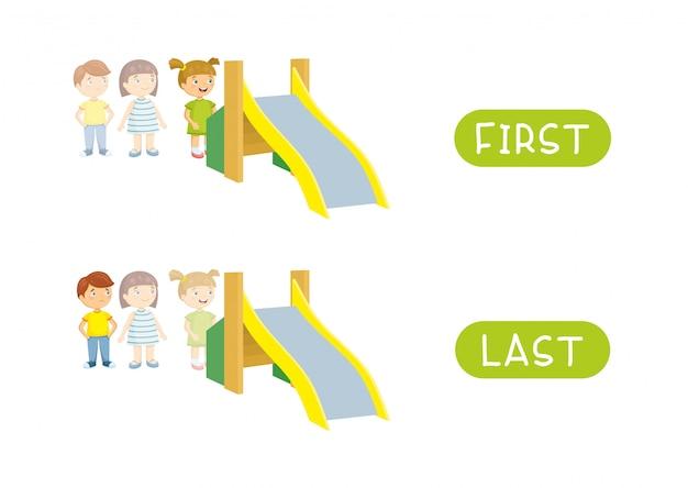 Primeiro e último. antônimos de vetor. primeiro, último e opostos. ilustração de personagens de desenhos animados Vetor Premium