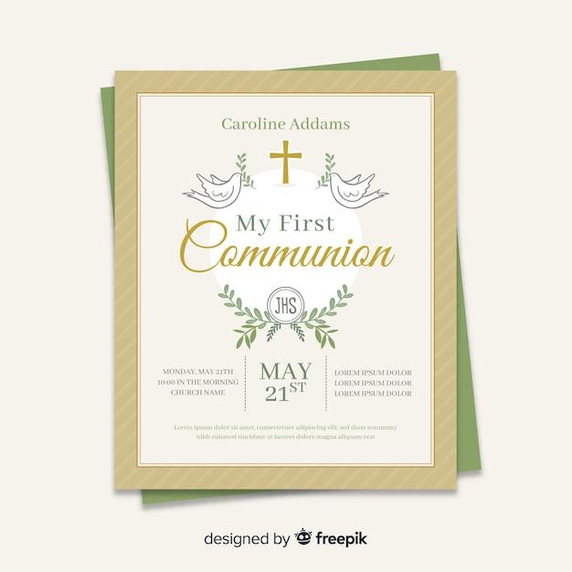 Primeiro modelo de convite de comunhão Vetor grátis