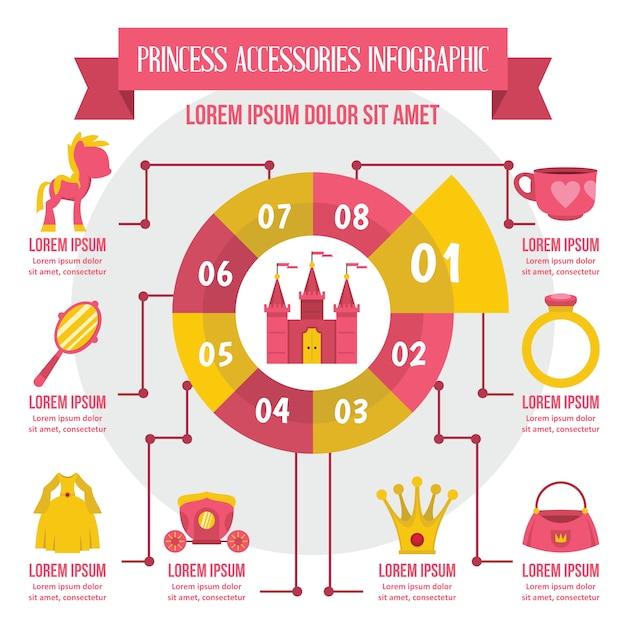 Princesa acessórios infográfico, estilo simples Vetor Premium