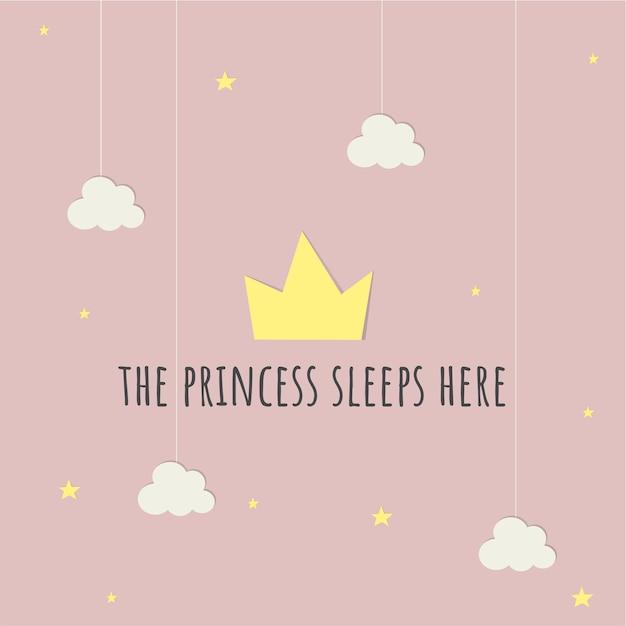 Princesa baby card Vetor grátis