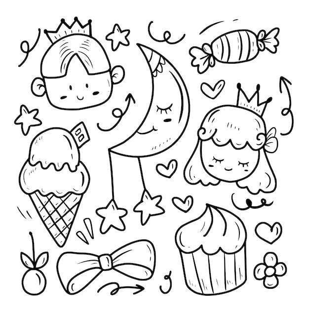 Princesa bonito e príncipe desenho doodle conjunto de coleta Vetor Premium